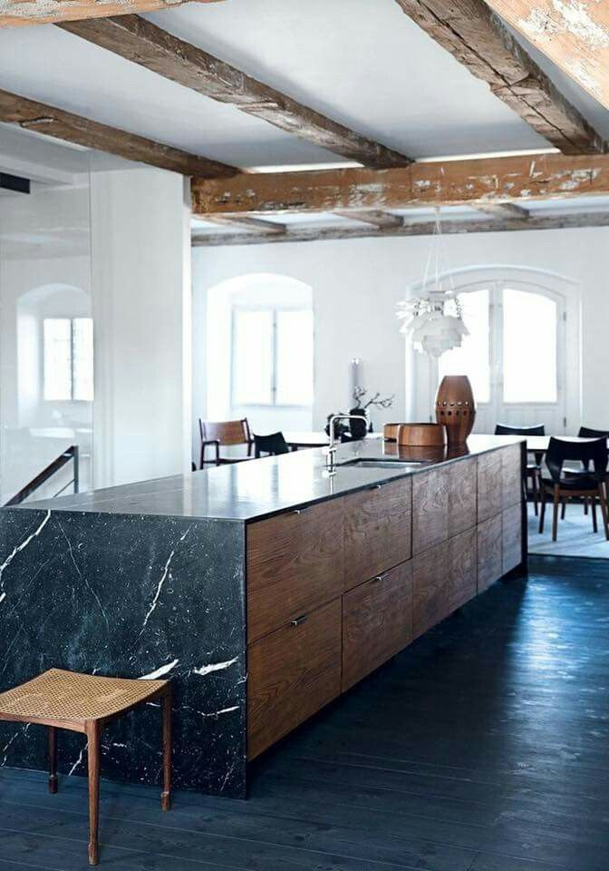 Modern Farmhouse Kitchen With Black Marble Countertops Farmhouse Interiordesign Kitchen Interior Design Kitchen Kitchen Trends Home Kitchens