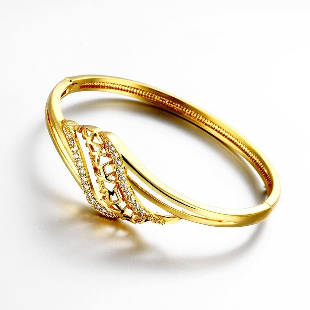 Gold plated bangle bracelets for women gold cubic zirconia hollow