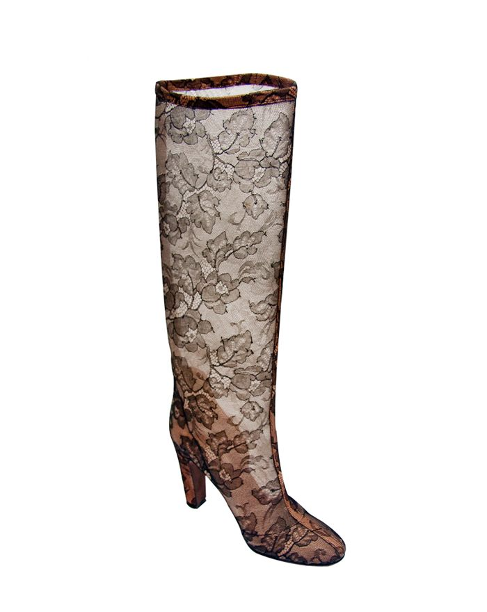 Valentino Boot Couture Black and Nude Lace, 212 872 8947