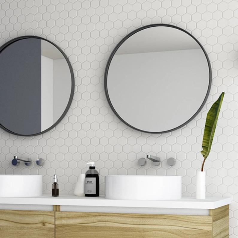 Miroir Encadre L 60 X H 60 Cm Diam 60 Cm Noir Randal Noua Leroy Merlin Miroir Mural Rond Miroir Rond Salle De Bains Miroir