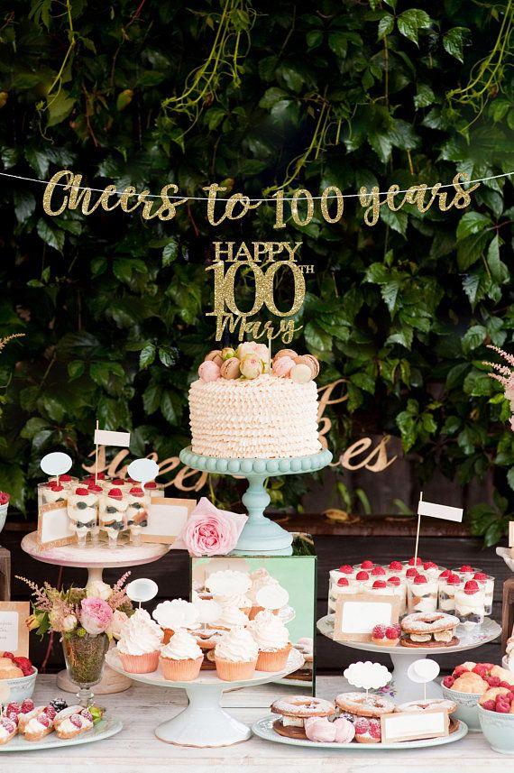 100 Cake Topper Banner 100th Birthday Decorations Decor