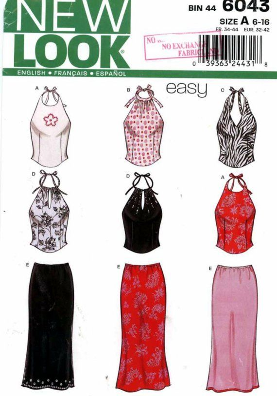 New Look 6043 sewing pattern for Halter top and skirt Bust 30 1\\/2 ...