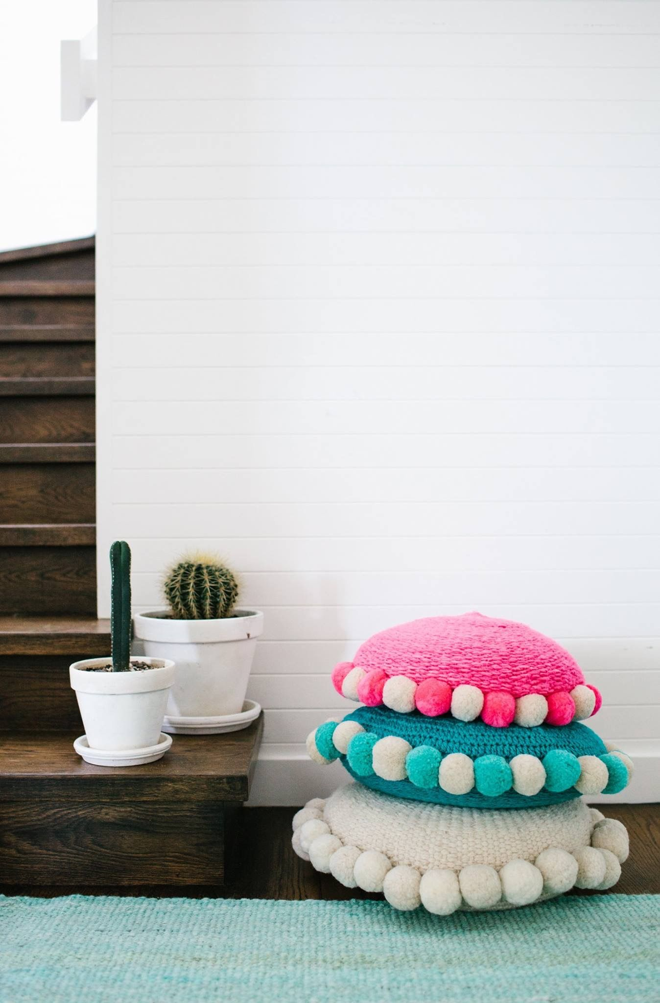 really cute pom pom floor poufs  diy sewing  fabric crafts  - really cute pom pom floor poufs