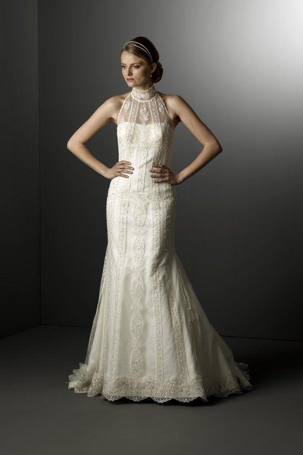 vintage look lace elegant high neck wedding dress from Alita Graham ...