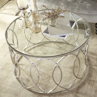 Elana Silver Stainless Steel Round Coffee Table