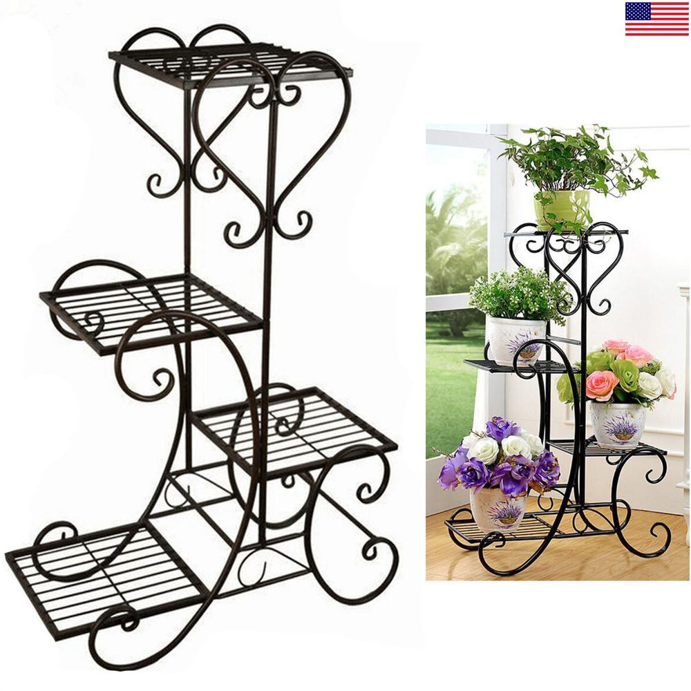 4 Tier Metal Plant Stand Garden Decorative Planter Holder Flower Pot Shelf Rack Material Wrought Iron Weight Plant Stand Indoor Metal Plant Stand Flower Stands