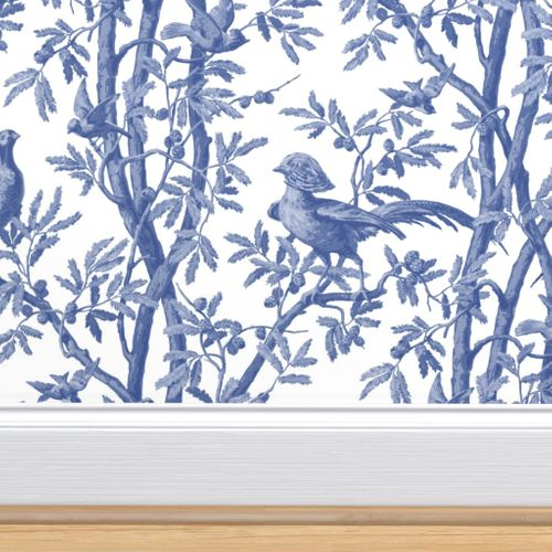 Golden Pheasants Chinoiserie Toile Wi In 2021 Blue And White Wallpaper Wallpaper French Wallpaper