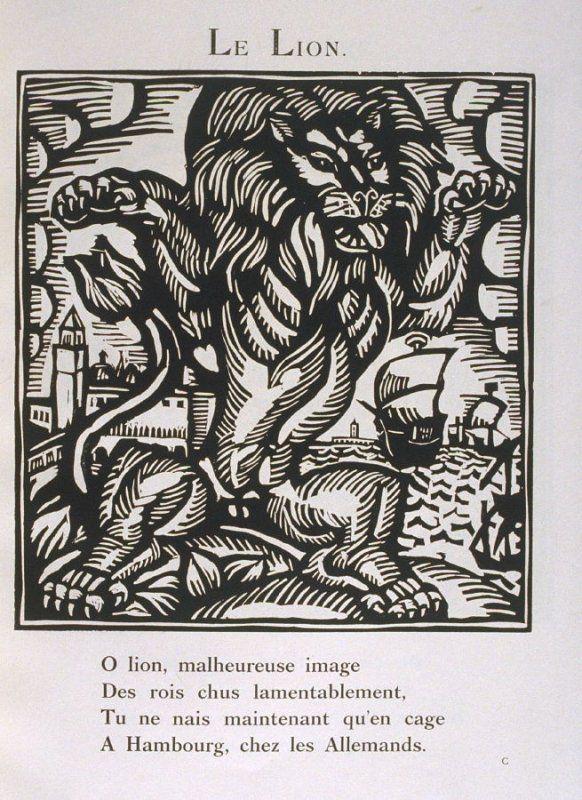 """""""Le Lion"""" in the book Le Bestiaire ou cortège d'Orphée by Guillaume Apollinaire (Paris: Deplanche, Éditeur d'Art, 1911)."""