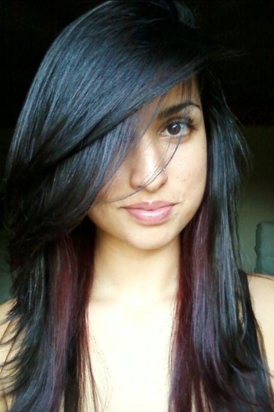 Red Peekaboo Highlights Hair Pinterest Hair Hair Highlights