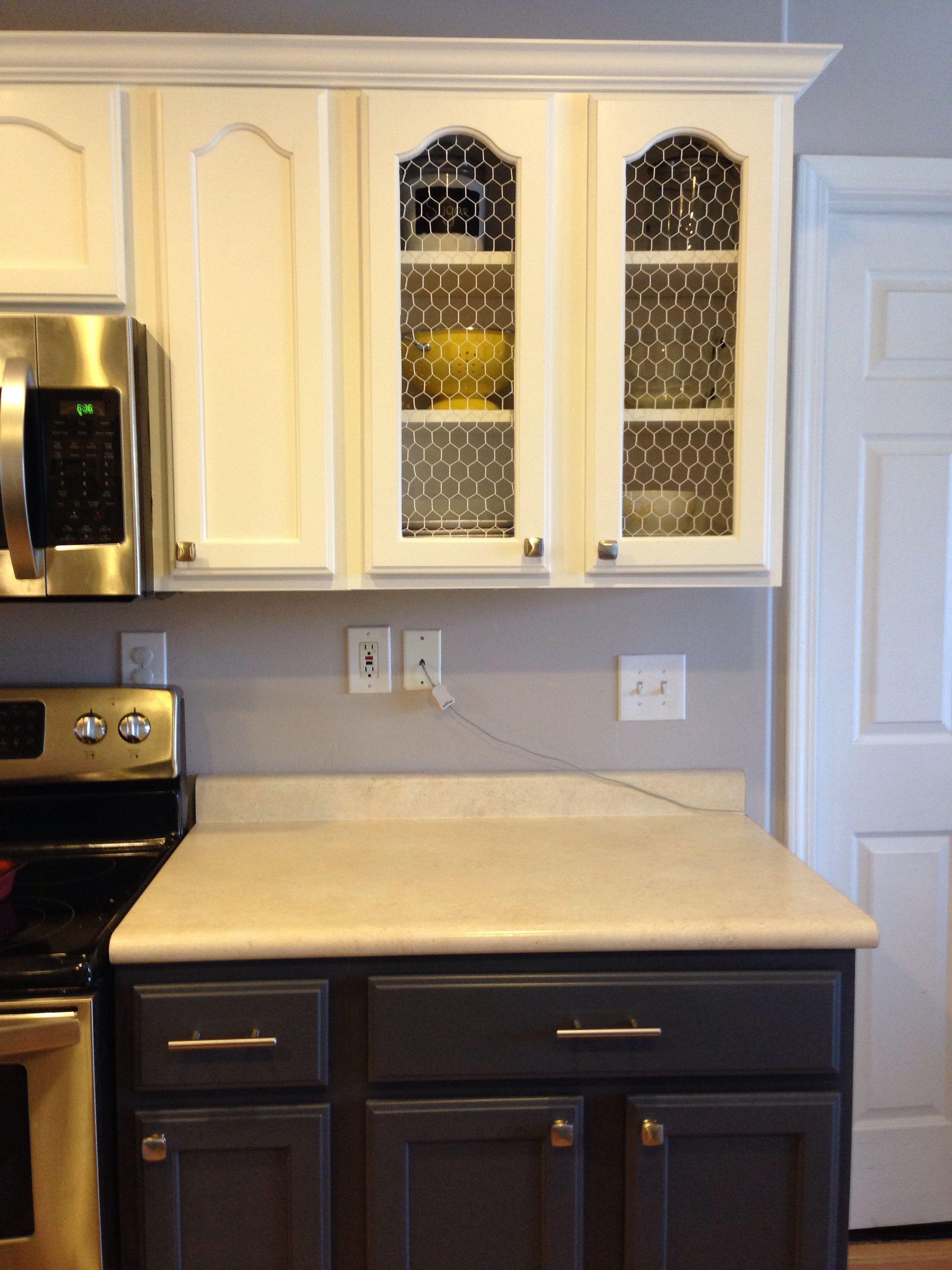 Kitchen Cabinet Transformation Chicken Wire In The Inners If Cabinets Kitchen Kitchen Cabinets New Kitchen