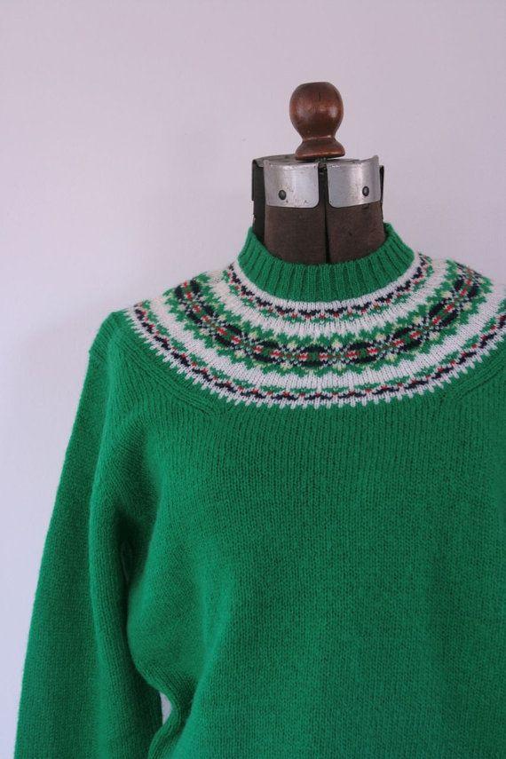 Vintage preppy Susan Bristol wool fair isle sweater medium