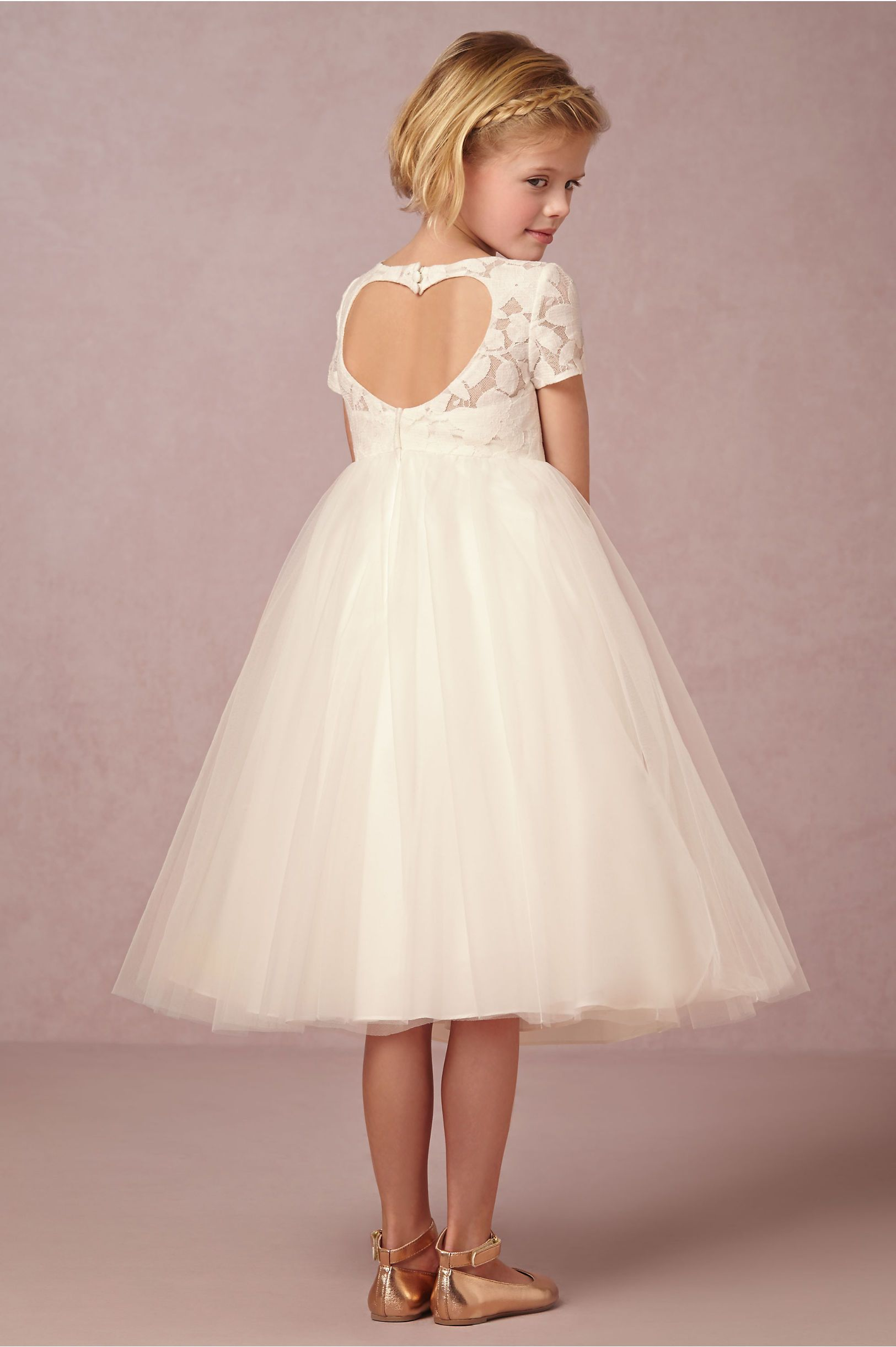 Portia Flower Girl Dress With Heart Cutout Detail From