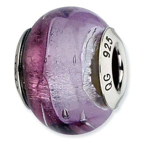 Sterling Silver Reflection Purple and Pink Italian Murano Bead