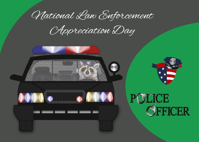 National Law Enforcement Appreciation Day, September 9th, Raccoon card