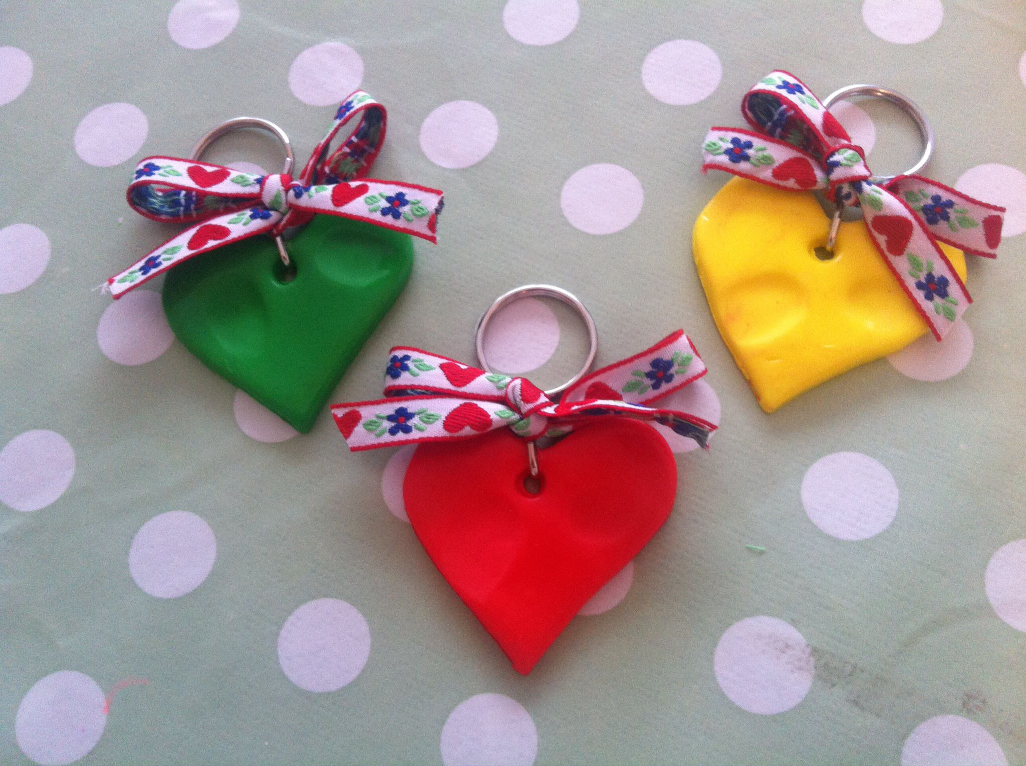 Finger Print Keyrings For Mothers Day Made From Fimo Modelling