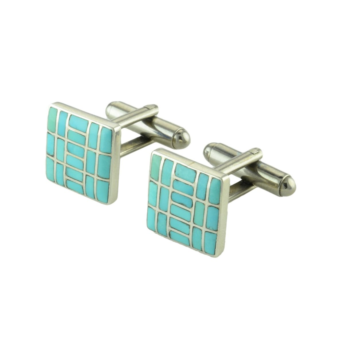 Sterling Silver Sleeping Beauty Turquoise Cuff Links