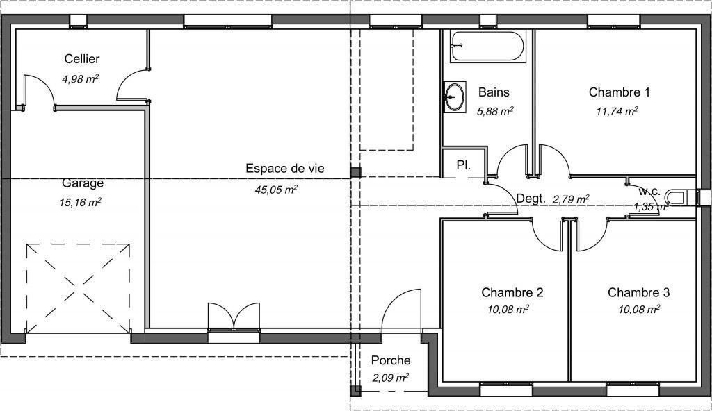 36 Plan Maison Plain Pied 2 Chambres Avec Garage - Plan de la Maison   Maison plain pied, Plan ...