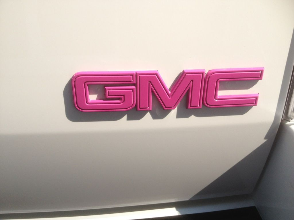 Gmc Pink Lettering Gmc Trucks Gmc Truck Accessories Lifted Trucks