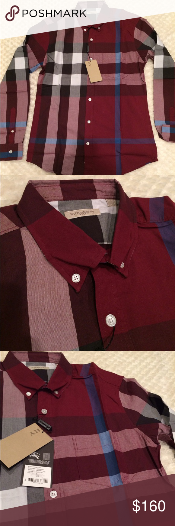 New burberry shirt for men S New with tags burberry shirt size small  100%cotton long sleeves Burberry Tops Button Down Shirts 5bcd249b7f4b