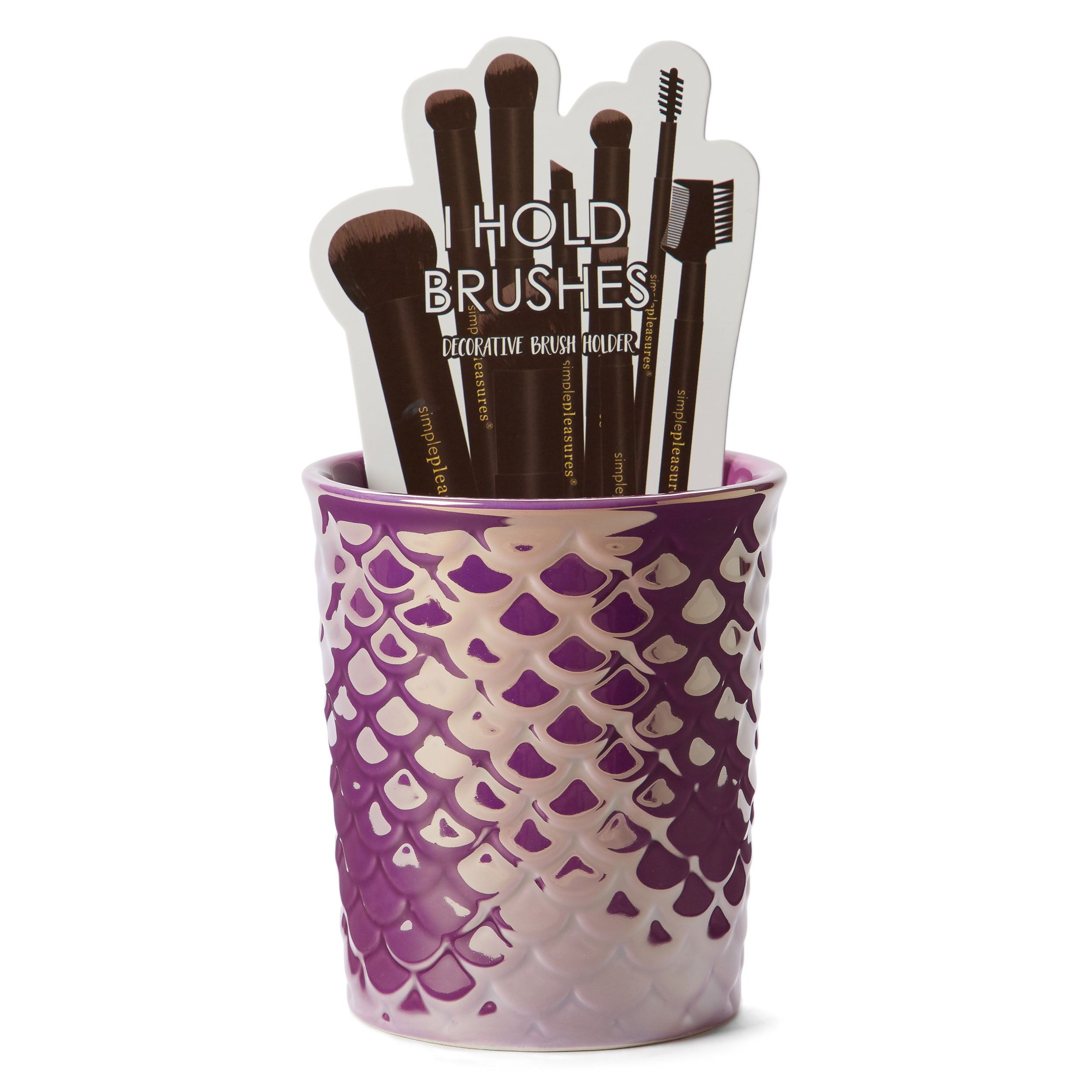Purple Mermaid Scales Brush Holder Ceramic brush, Makeup