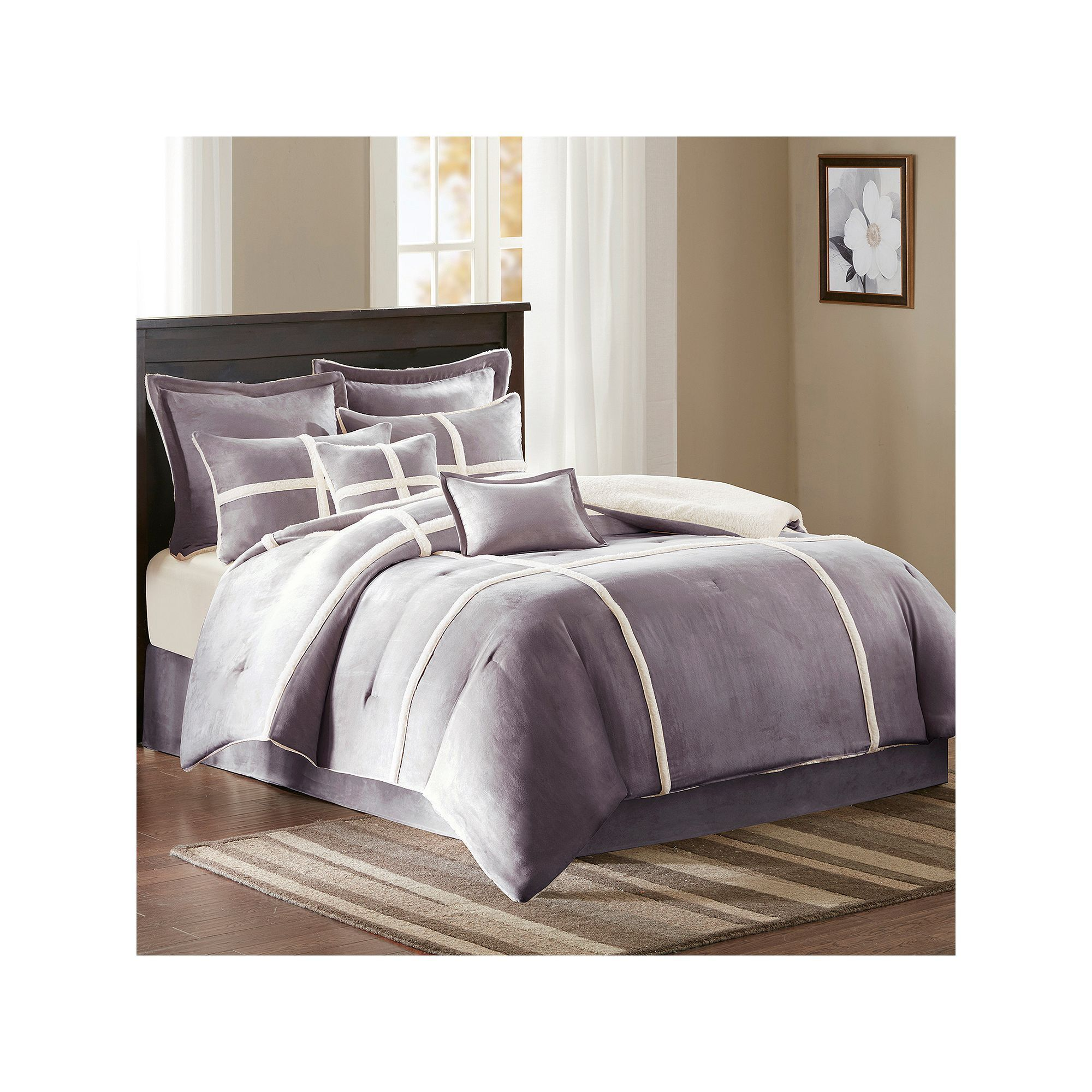faux sets king navy queen set micro blue suede plush microsuede brown comforter chic piece lined decoration bedding home