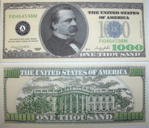 1000 TRILLION DOLLAR NOVELTY BILLS 1,000 // one thousand wholesale lot set