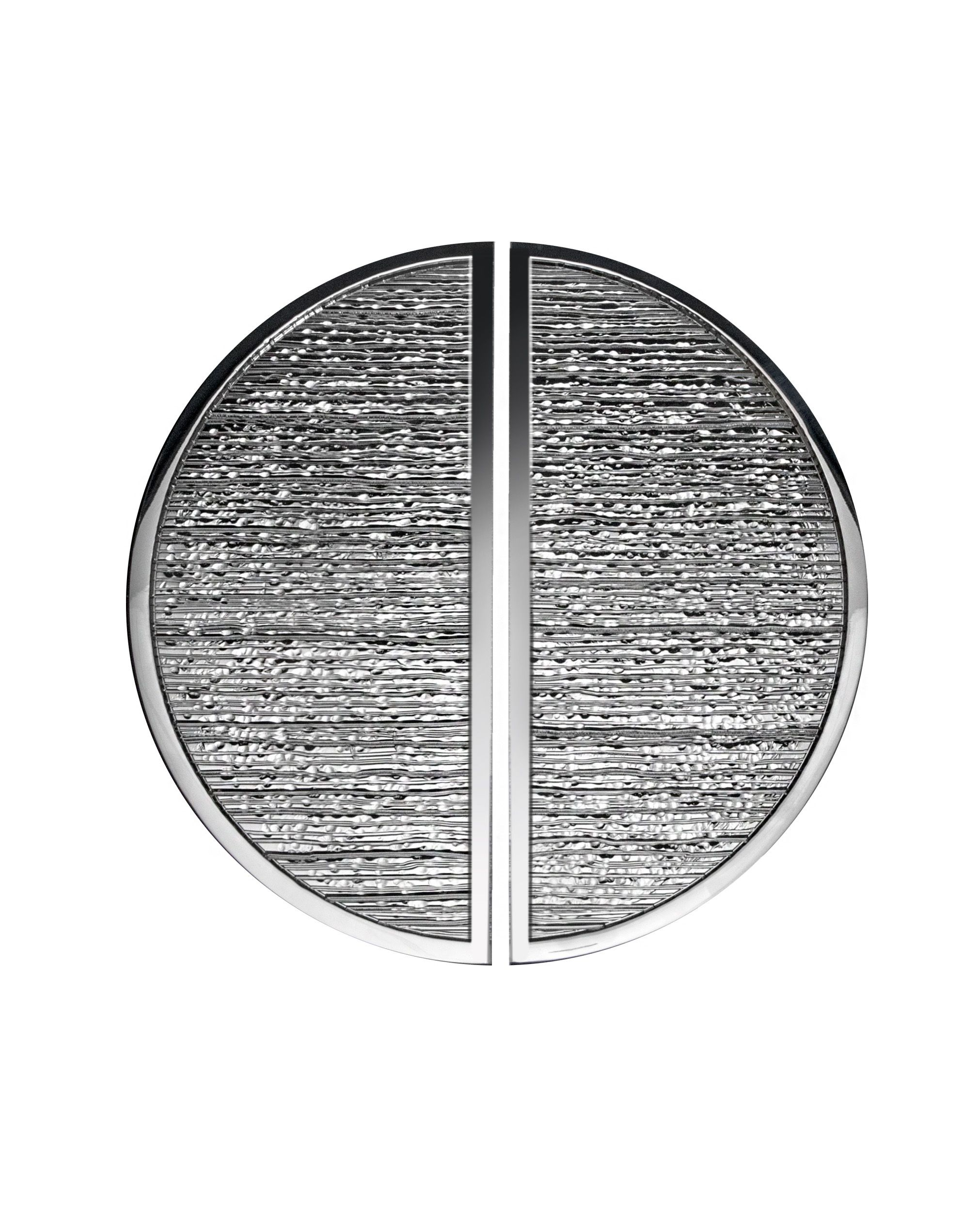 Brooks 2 Door Pull   3/8u201d Solid Half Circle (Moon) Grip With 2 3/4u201d Face  With Reeded, Hammered Center, 1/4u201d Smooth Border And Fixed Smooth Straight  Round ...