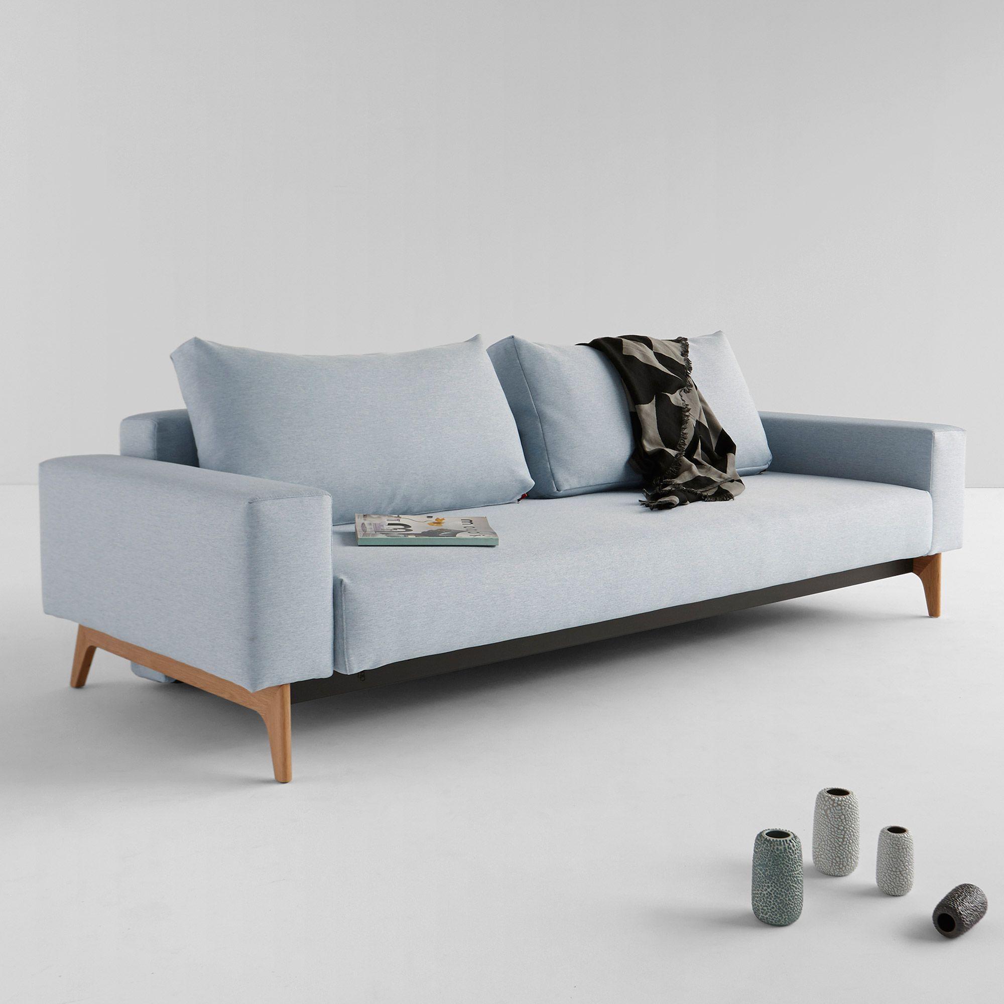 Canapé convertible en tissu avec pieds en bois IDUN Innovation port ...