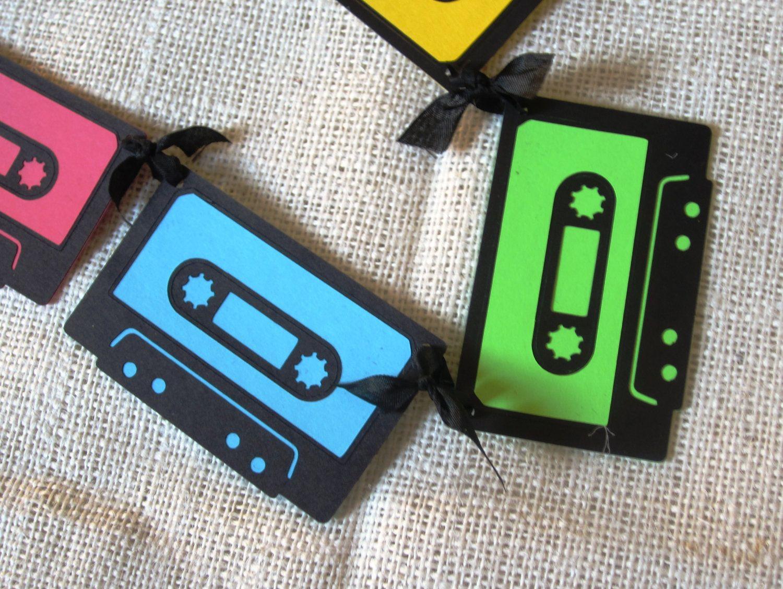 Neon Mix Tape Banner 80s Cassette Birthday Decoration Summer SALE