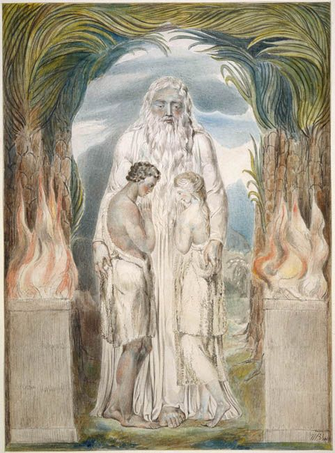 Bible Old Testament - The Angel of the Divine Presence Clothing Adam and Eve with Coats of Skins by William Blake
