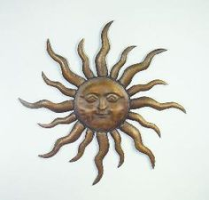 Exceptional Metal Steel Sun Face Wall Art Golden Design