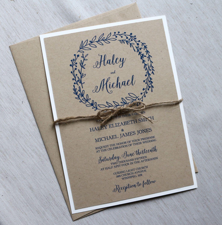Rustic Kraft Wedding Invitation, Modern Rustic Wedding Invitation ...