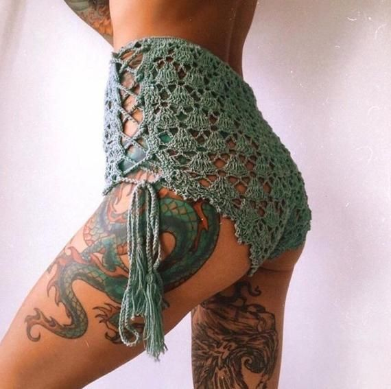 Crochet Lace Shorts , Beachwear, Festival Clothing .
