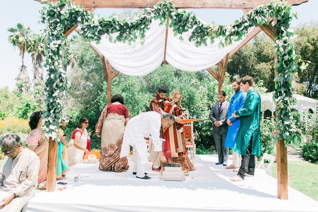 Hindu ceremony at South Coast Botanic Garden with mandaap