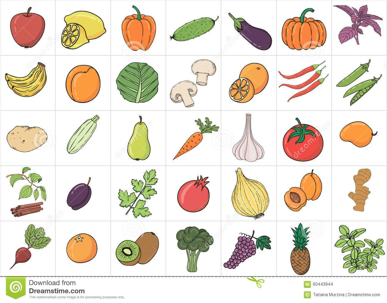 Hand Drawn Doodle Fruits And Vegetables With Name