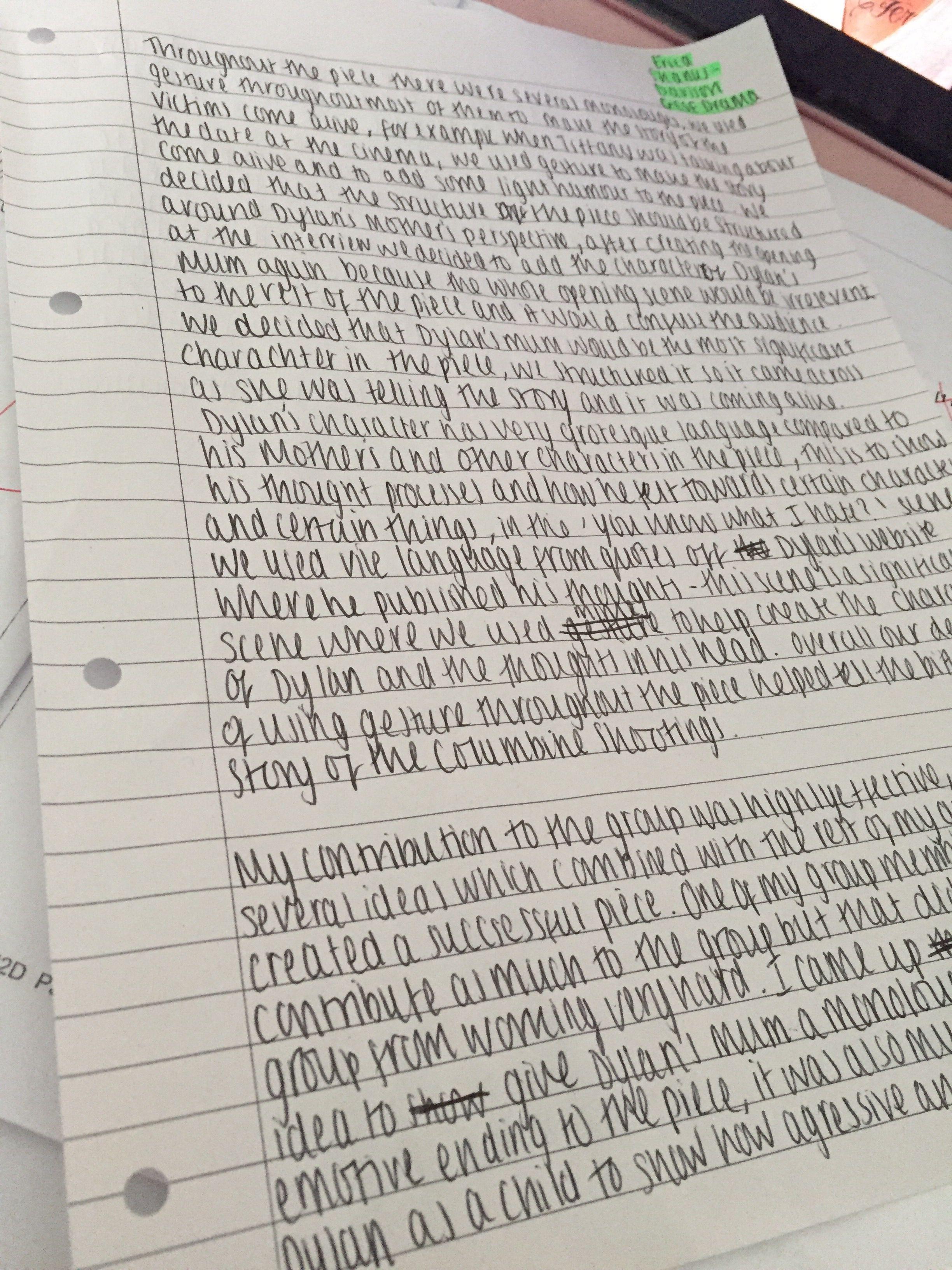 GCSE Drama Coursework Ive Got Pintrests Worst Handwriting Ever