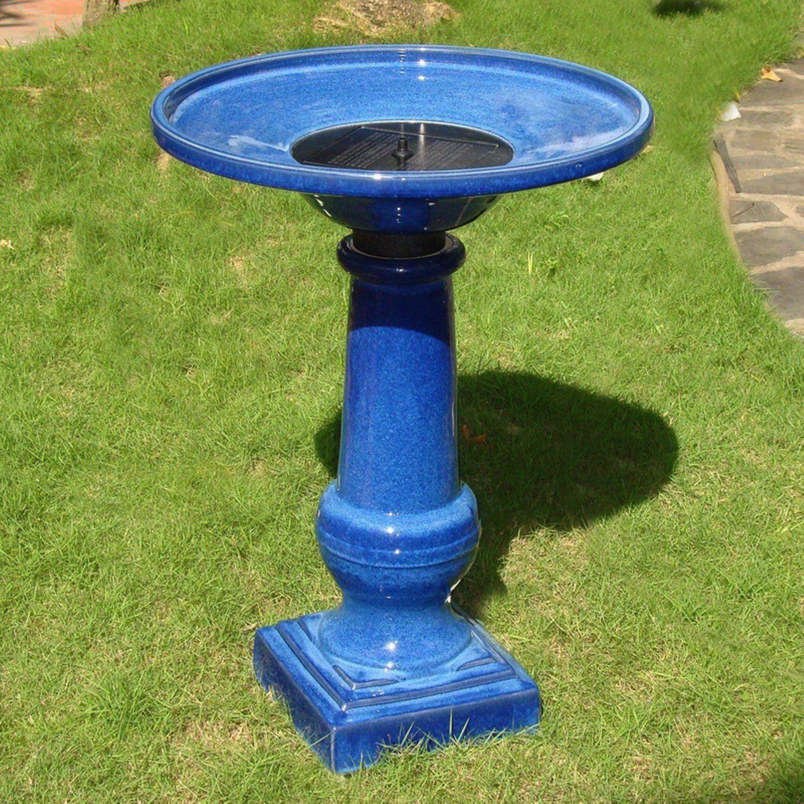 Amazon Com Smart Garden 25372rm1 Athena Glazed Blue Ceramic Birdbath Fountain With Solar On Demand Patio La Bird Bath Fountain Ceramic Bird Bath Bird Bath