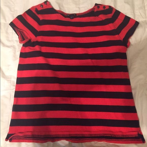 Red and navy striped shirt Buttons on shoulders! So adorable! Great for the 4th of July ! Only worn 1 time !  GAP Tops Tees - Short Sleeve