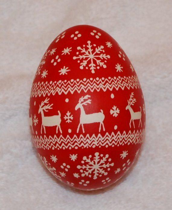 Christmas Pysanky Goose Egg Ornament, Red and White Reindeer and ...