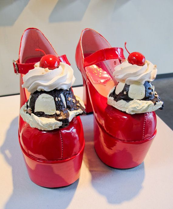$400 for a pair of shoes with plastic ice cream sundaes hot glued on.     h a p p y   h  a p  p y   j o y   j o y by icecreamshoes on Etsy, $400.00