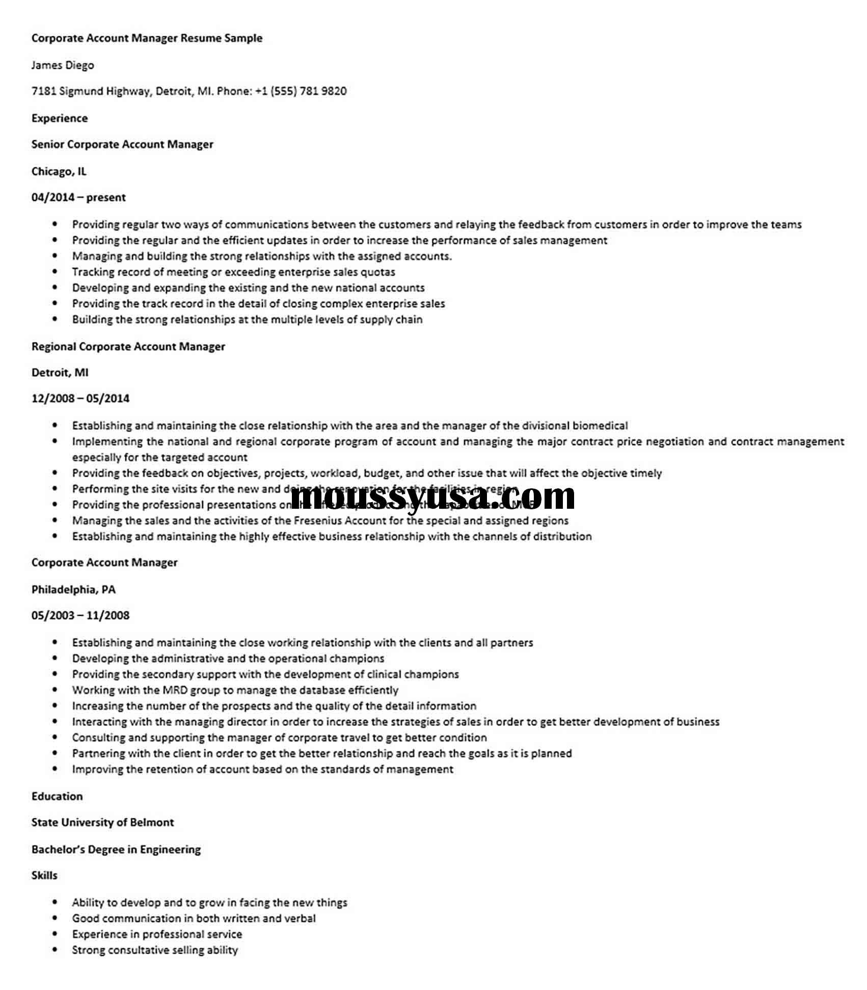 Corporate Account Manager Resume Sample di 2020