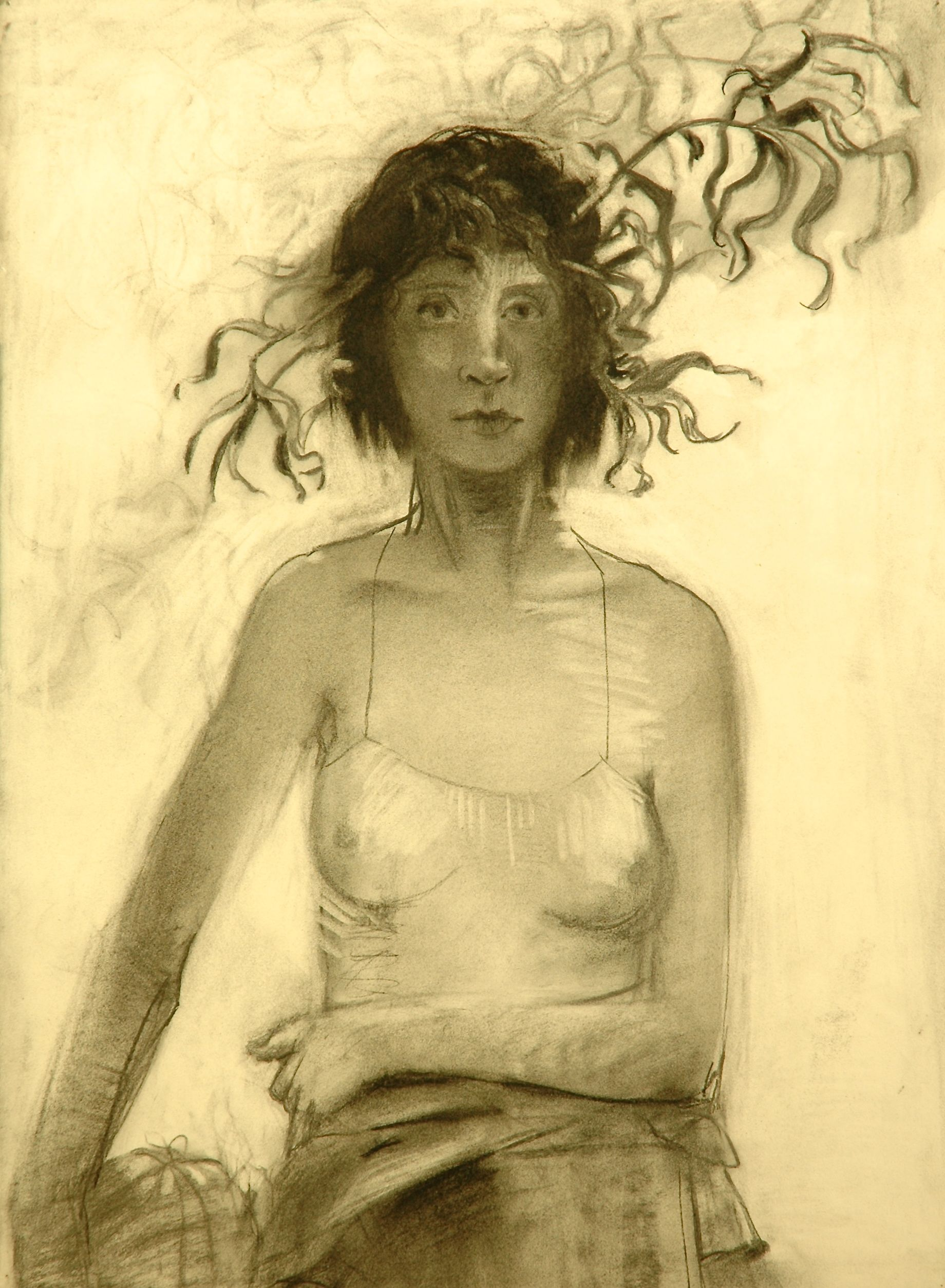 LESLIE BELL, charcoal drawing