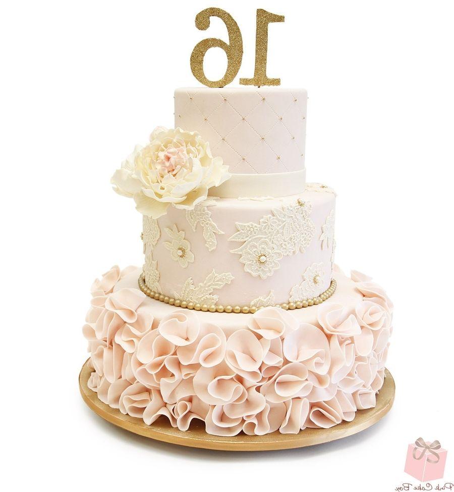 Gold colour wedding cake boxes pink sweet 16 sweet 16