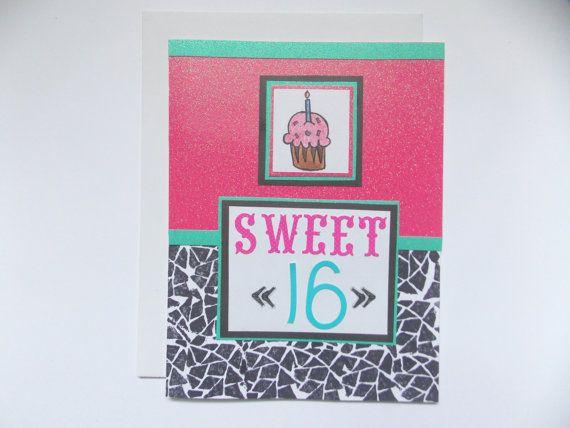 Sweet 16 Birthday Card 16th Birthday Card By Happydoodlesbykatie