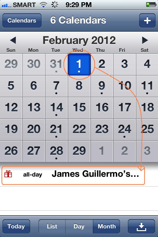 Birthday event in iPhone 4S Calendar. Iphone hacks