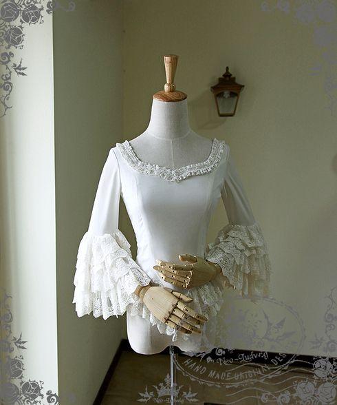 Ten O'Clock Cinderella, Rococo Lolita Elegant Gothic Fine Chiffon Tiered Lace Cuffs Blouse