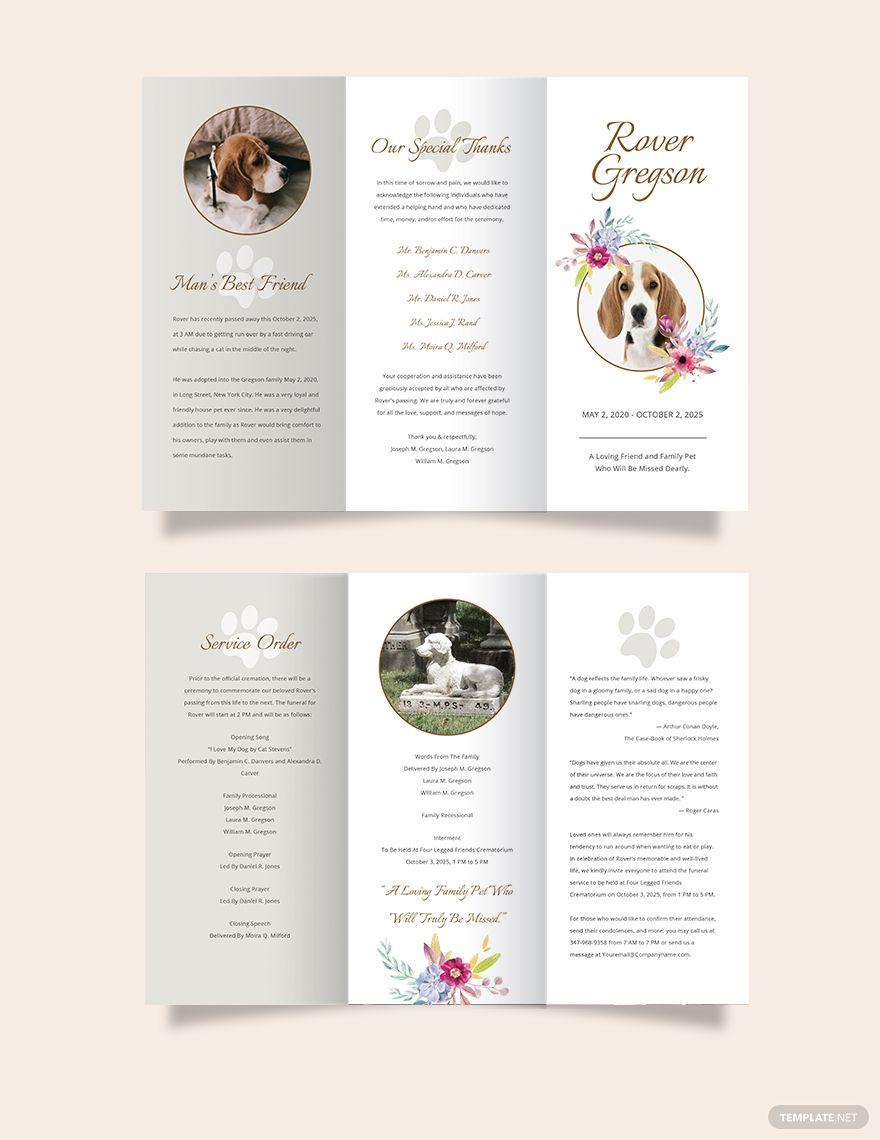 Pet Cremation Funeral Tri-Fold Brochure Template #AD, , #AD, #Funeral, #Cremation, #Pet, #Tri, #Template