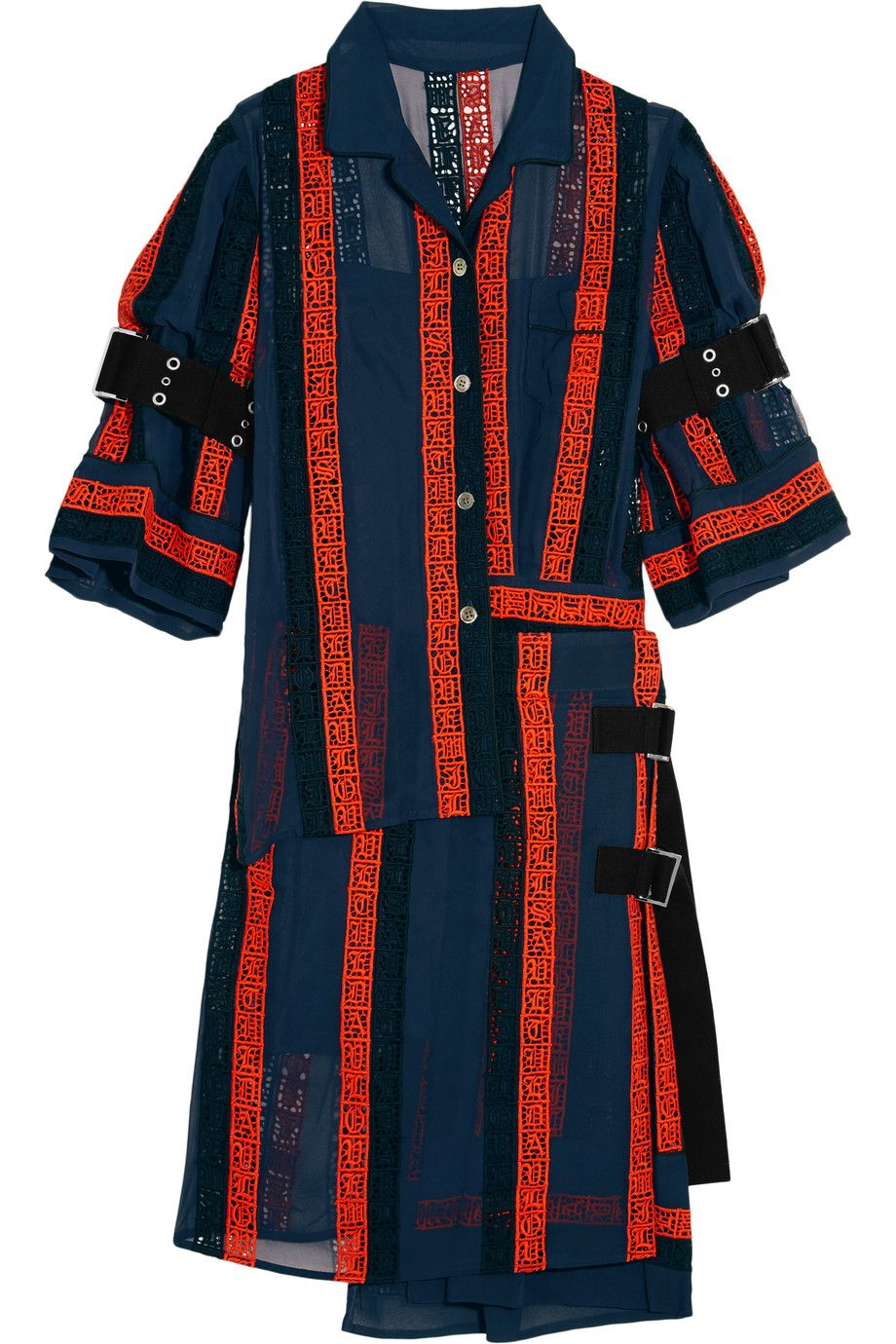 Navy · SACAI Macramé Lace-Paneled Cotton-Blend Chiffon Dress.