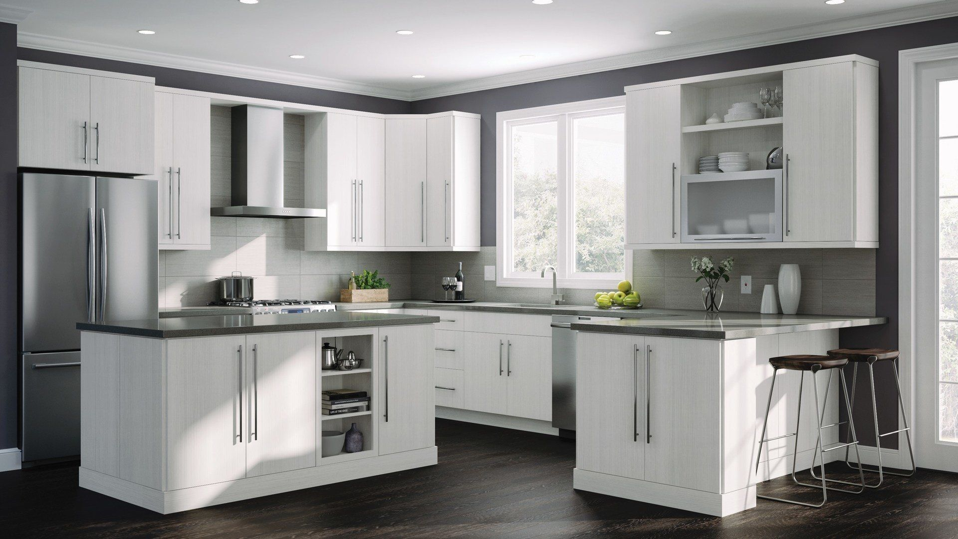 Shop Our Kitchen Cabinets Department To Customize Your Edgeley Wall Cabinets In Glacier Today Tiny Kitchen Design Interior Design Kitchen Grey Kitchen Interior