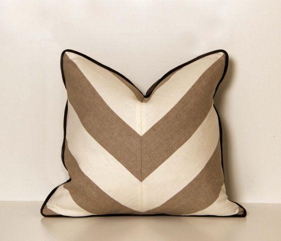 Linen Beige and White Chevron Throw Pillow | Chevron throw ...